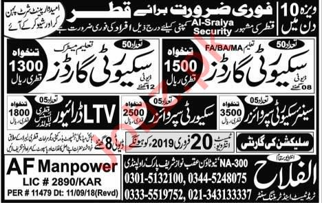 Security Guard & LTV Driver Jobs 2019 in Qatar