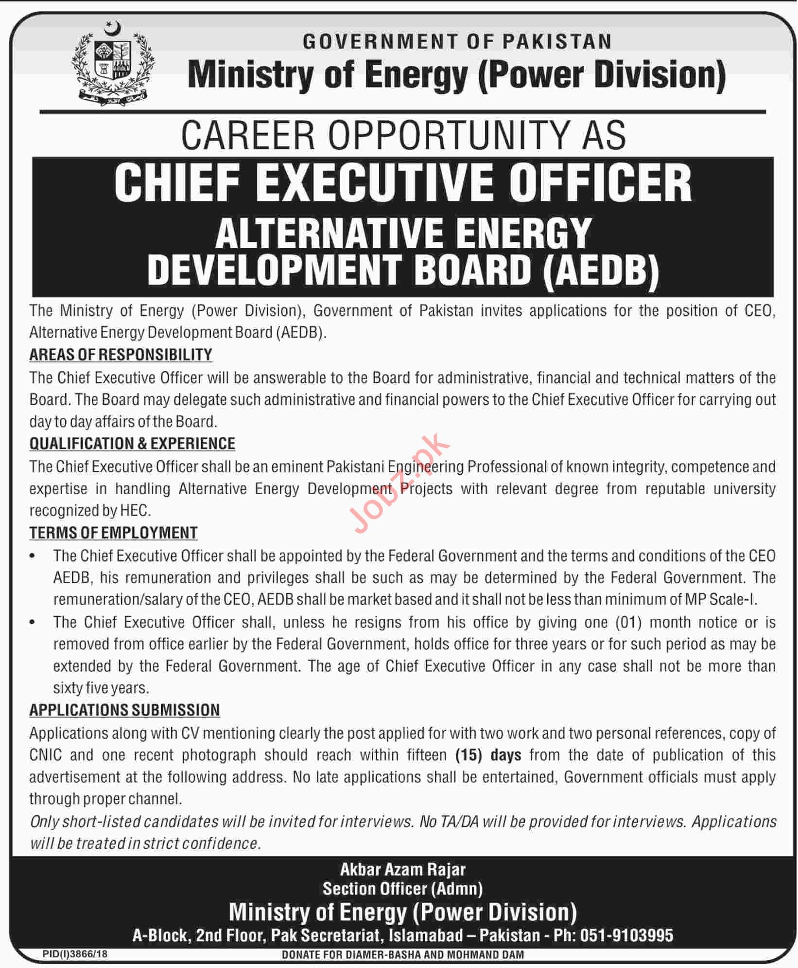 Ministry of Energy Chief Executive Officer Jobs 2019