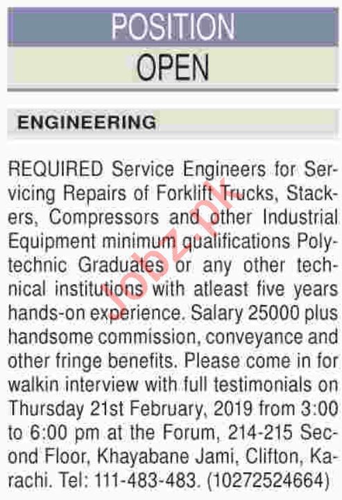Engineering Staff jobs 2019 in karachi