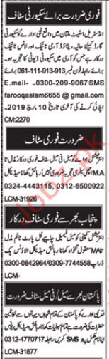 Security Styaff Jobs 2019 in Multan
