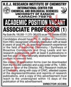 HEJ Research Institute of Chemistry Job 2019 For Karachi