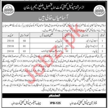Municipal Committee Rahim Yar Khan Jobs 2019