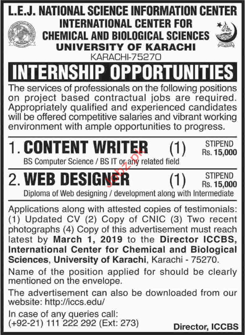 Internship Content Writer Web Designer Jobs In University Of Karachi