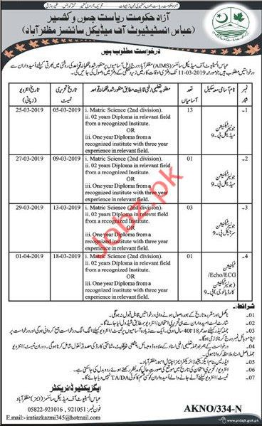 Abbas Institute of Medical Sciences Medical Staff Jobs 2019