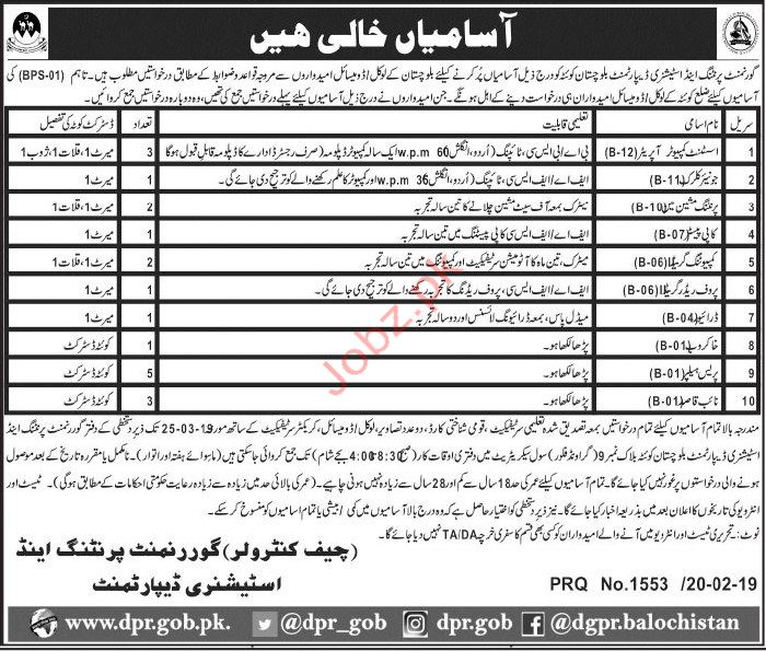 Government Printing & Stationary Department Jobs 2019