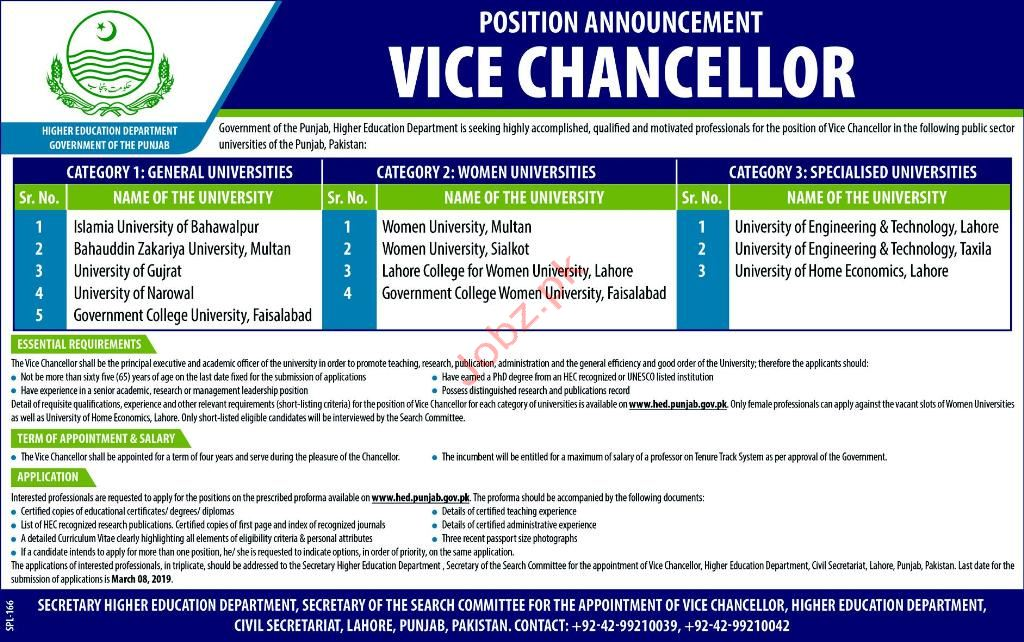 Vice Chancellor Jobs in Punjab Higher Education Department