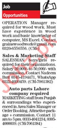 Operation Manager, Marketing Staff & Sales Manager Jobs