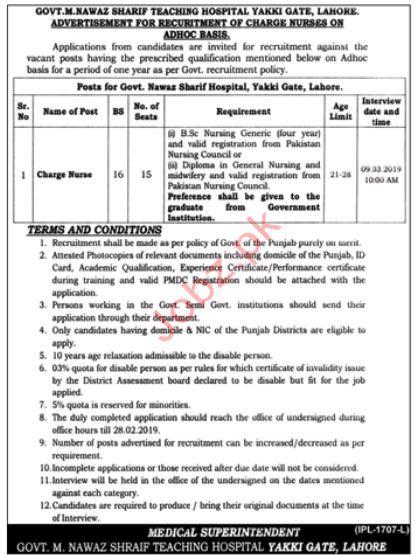 Govt. Nawaz Sharif Teaching Hospital Charge Nurse  Jobs 2019