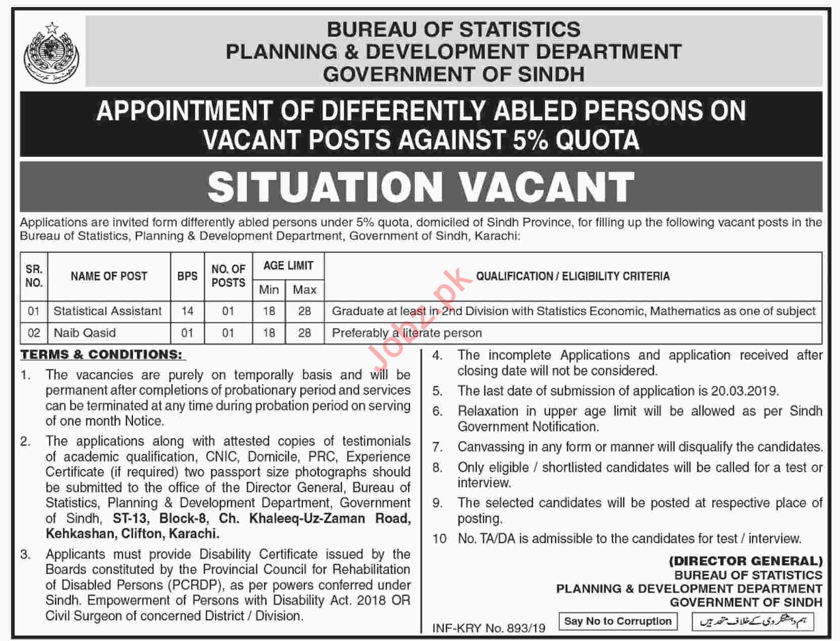 Sindh Bureau of Statistics Jobs 2019 Statistical Assistant