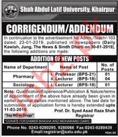 Shah Abdul Latif University Faculty Jobs 2019 For Khairpur
