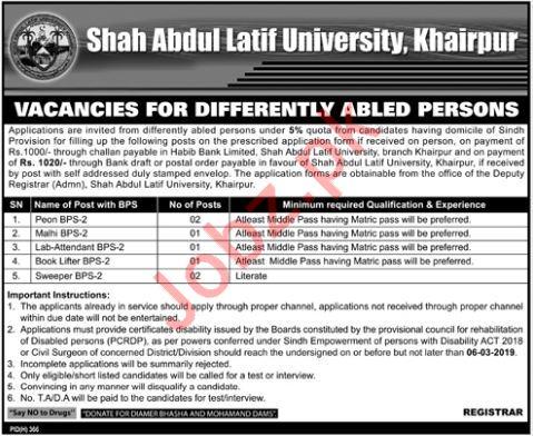 Shah Abdul Latif University Jobs 2019 In Khairpur