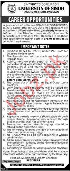University of Sindh Disabled Persons Jobs 2019 in Jamshoro