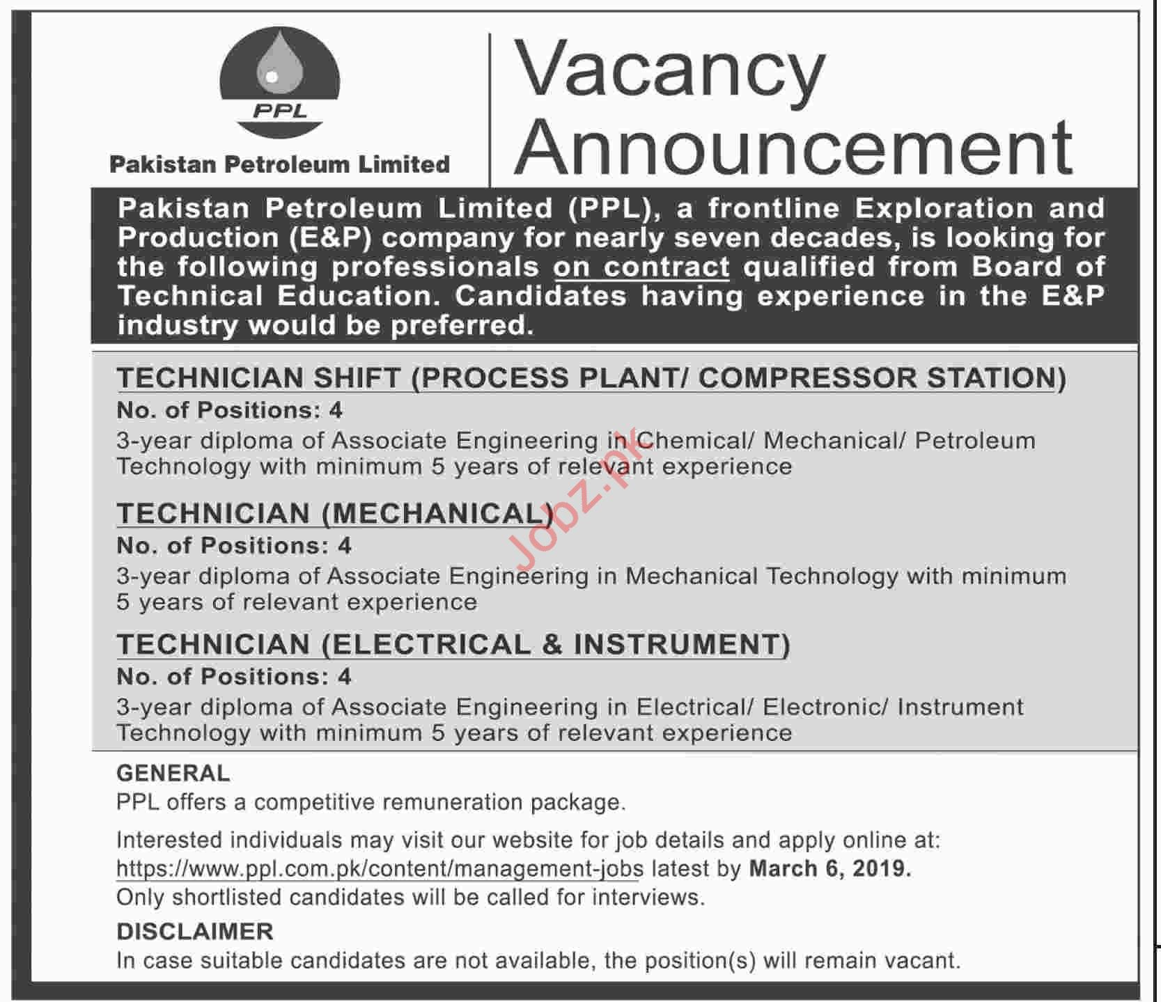 Pakistan Petroleum Limited PPL Technician Shift Jobs
