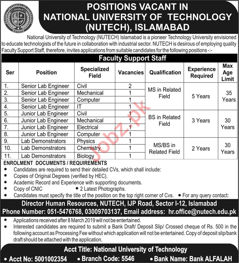 National University of Technology NUTECH Jobs in Islamabad
