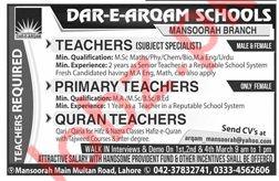 Dar e Arqam School Mansoorah Lahore Jobs 2019 for Teachers