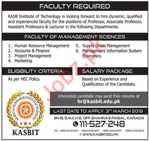 KASB Institute of Technology Karachi Jobs 2019