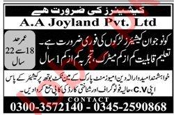 AA Joyland Lahore Jobs 2019 for Cashier