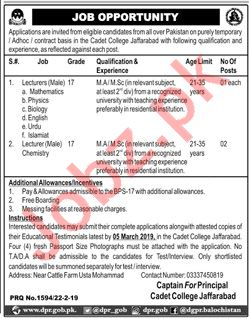 Cadet College Jaffarabad Jobs 2019 for Lecturers