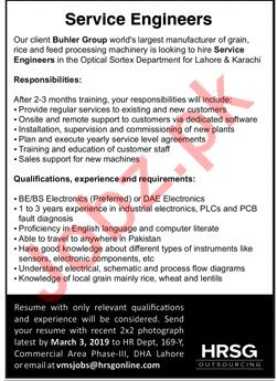 Buhler Group Karachi Jobs 2019 for Service Engineer
