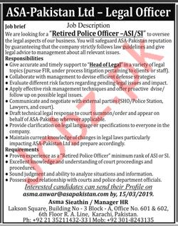 ASA Pakistan Karachi Jobs 2019 for Legal Officer