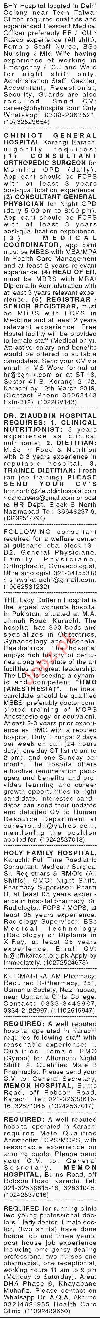 Dawn Sunday Classified Ads 24th Feb 2019 for Medical Staff