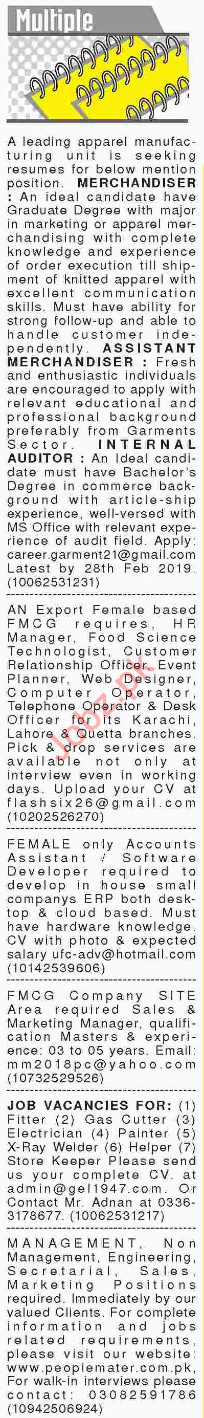 Dawn Sunday Classified Ads 24th Feb 2019 for Multiple Staff