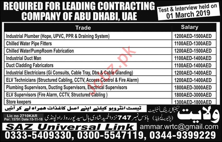Contracting Company Jobs 2019 For Abu Dhabi UAE 2019 Job