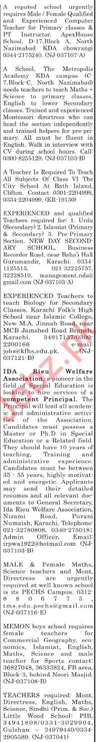 The News Sunday Classified Ads 24th Feb 2019 for Teachers