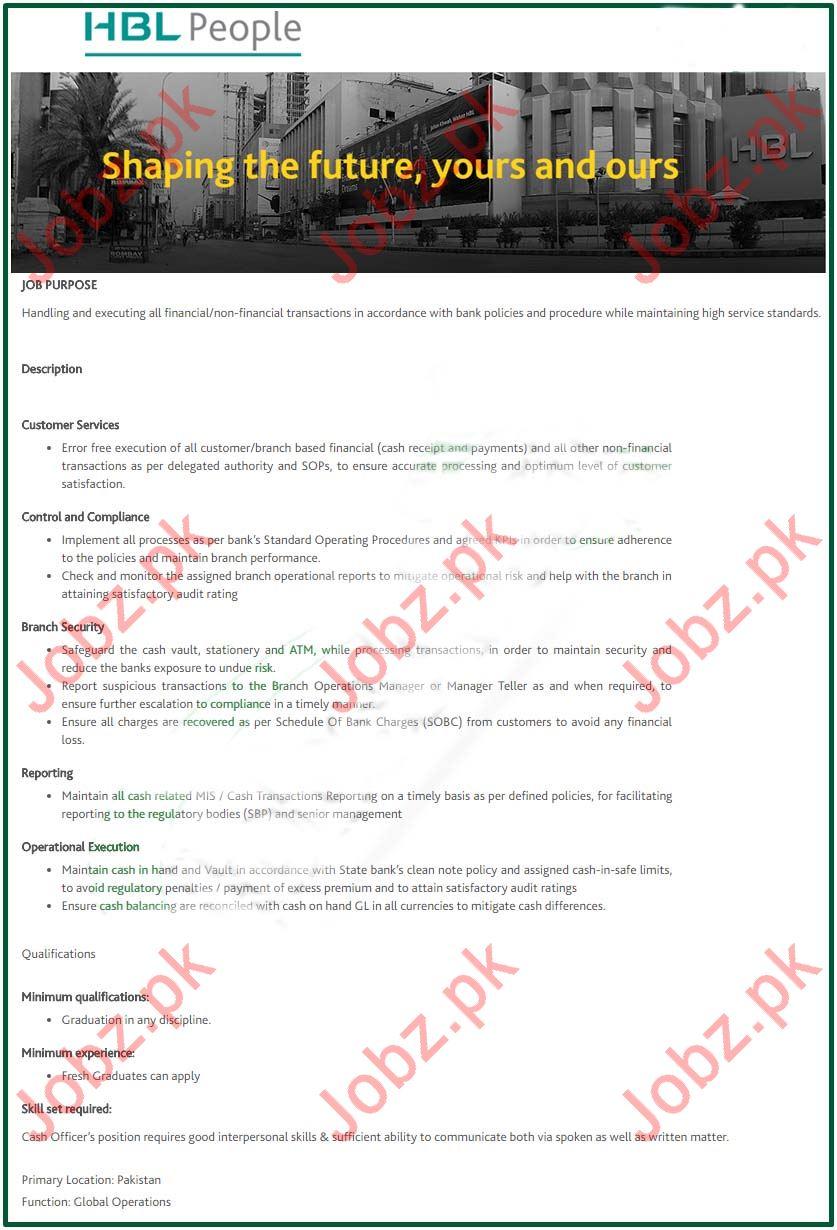 Habib Bank Limited HBL Jobs 2019 Job Advertisement Pakistan