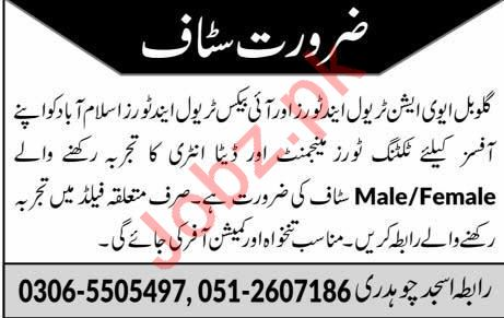 Global Aviation Travel & Tours Office Staff Jobs 2019