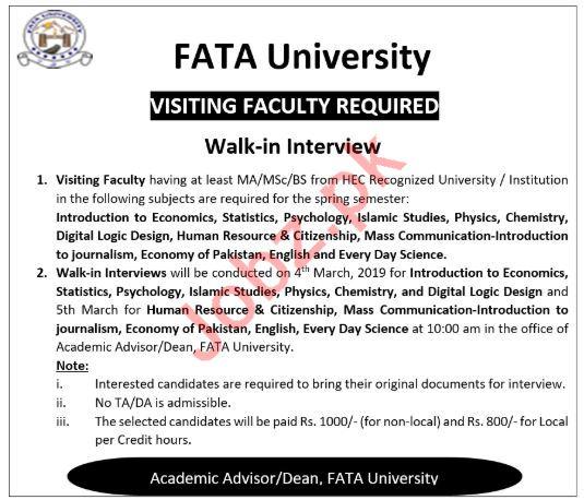 FATA University Peshawar Jobs 2019 for Visiting Faculty