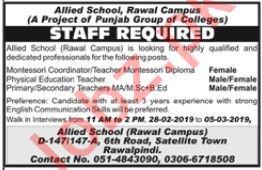 Allied School Rawal Campus Jobs 2019 in Rawalpindi