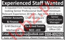 Accounts, Engineer & Medical Staff Jobs in Private Company
