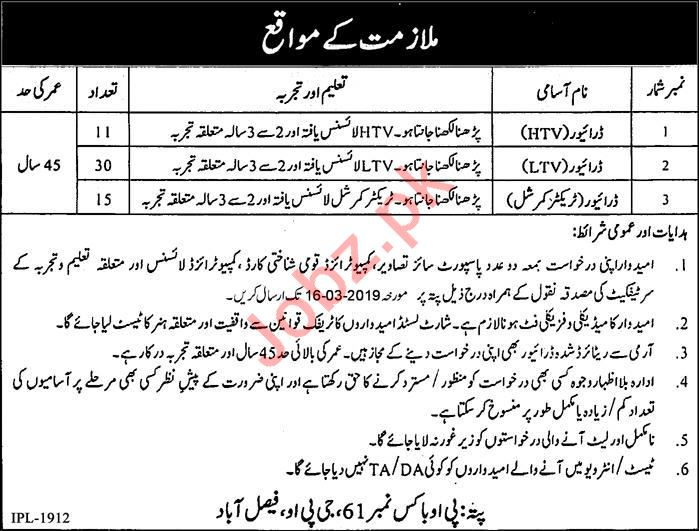 Public Sector Organization Faisalabad Jobs 2019 for Drivers