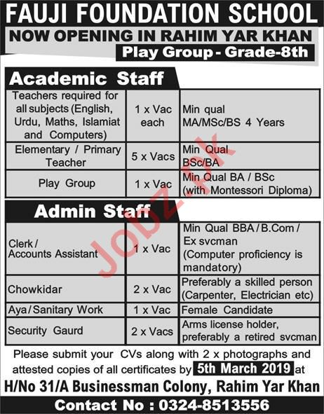 Fauji Foundation School Rahim Yar Khan Jobs 2019 Job Advertisement