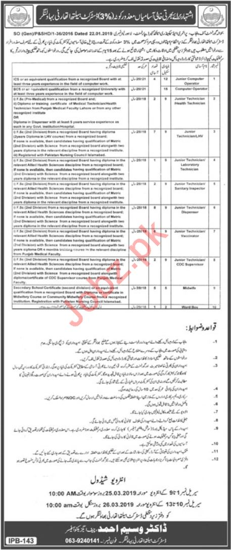 District Health Authority Bahawalnagar Jobs 2019