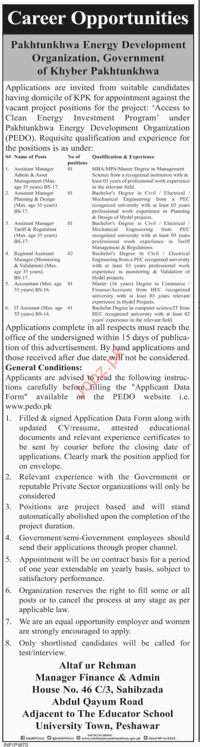 Pakhtunkhwa Energy Development Organization PEDO Jobs 2019