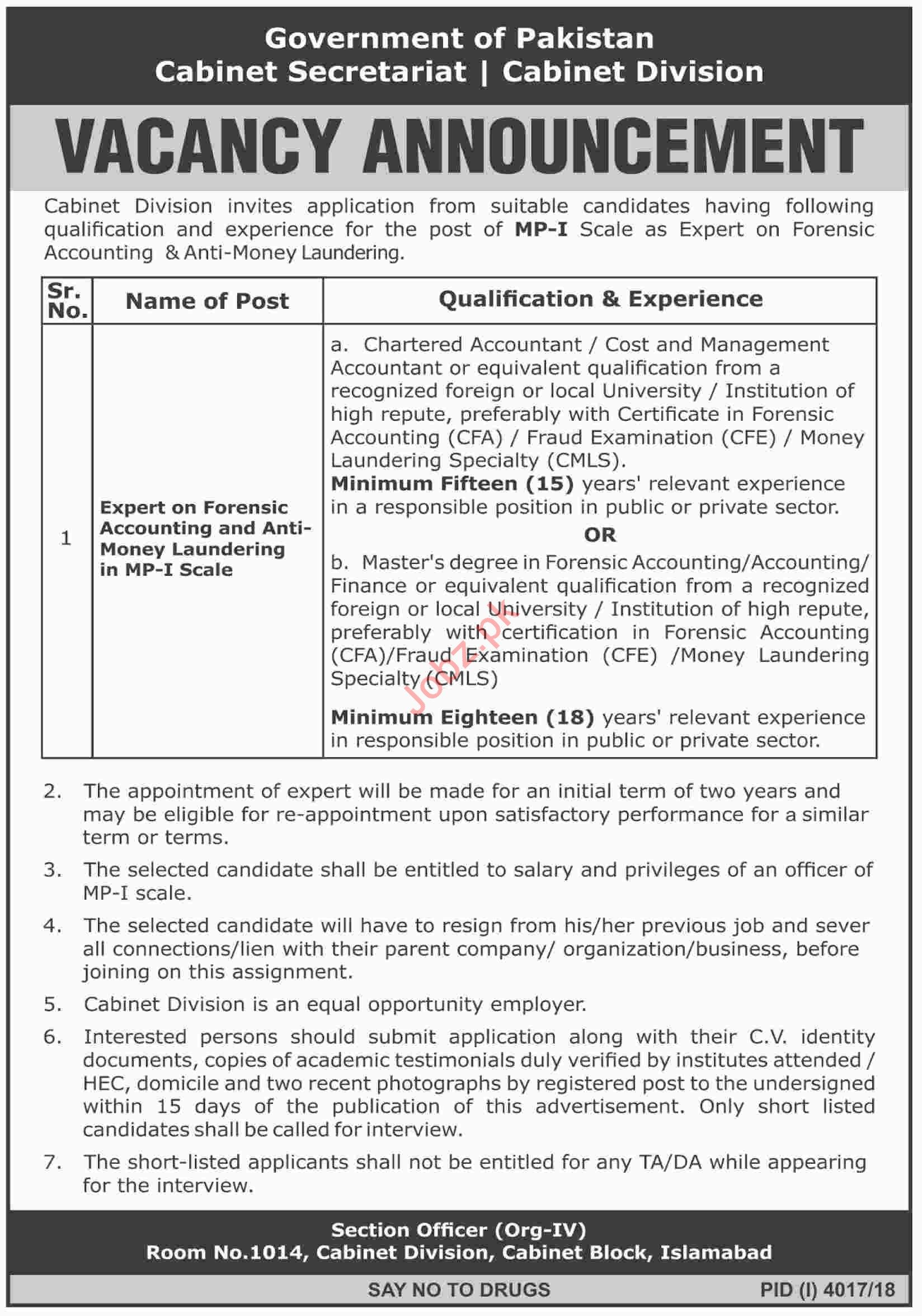 Expert of Forensic Accounting Jobs in Cabinet Division