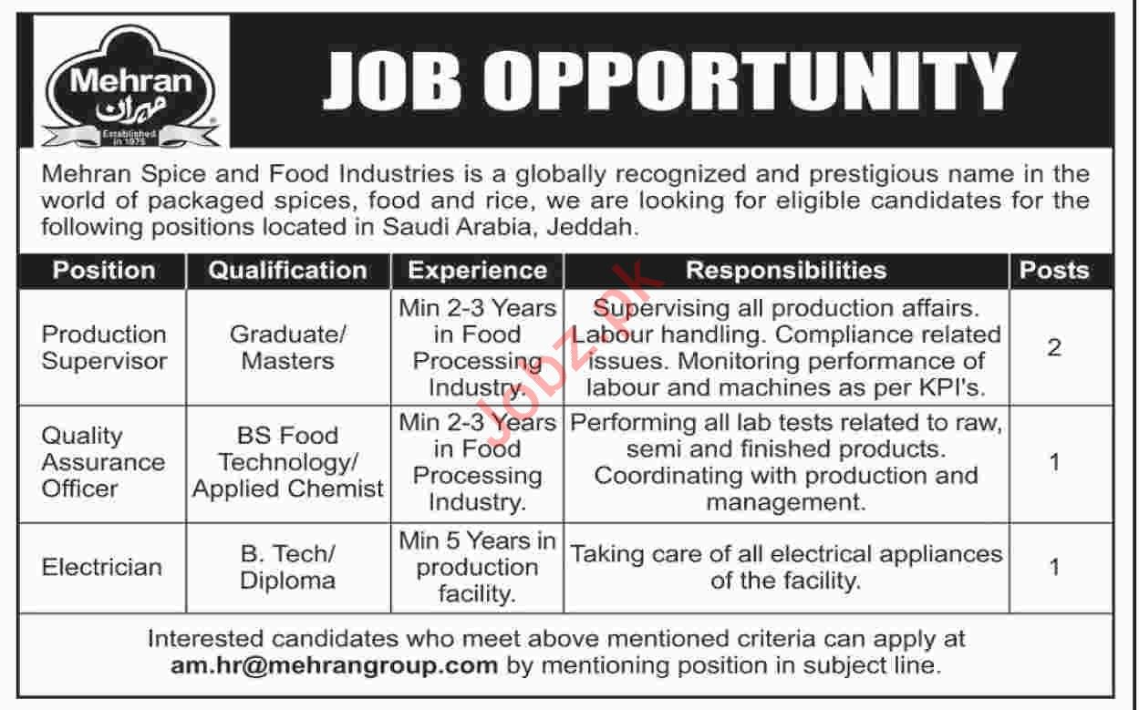 Production Supervisor Jobs in Mehran Spice & Food Industries