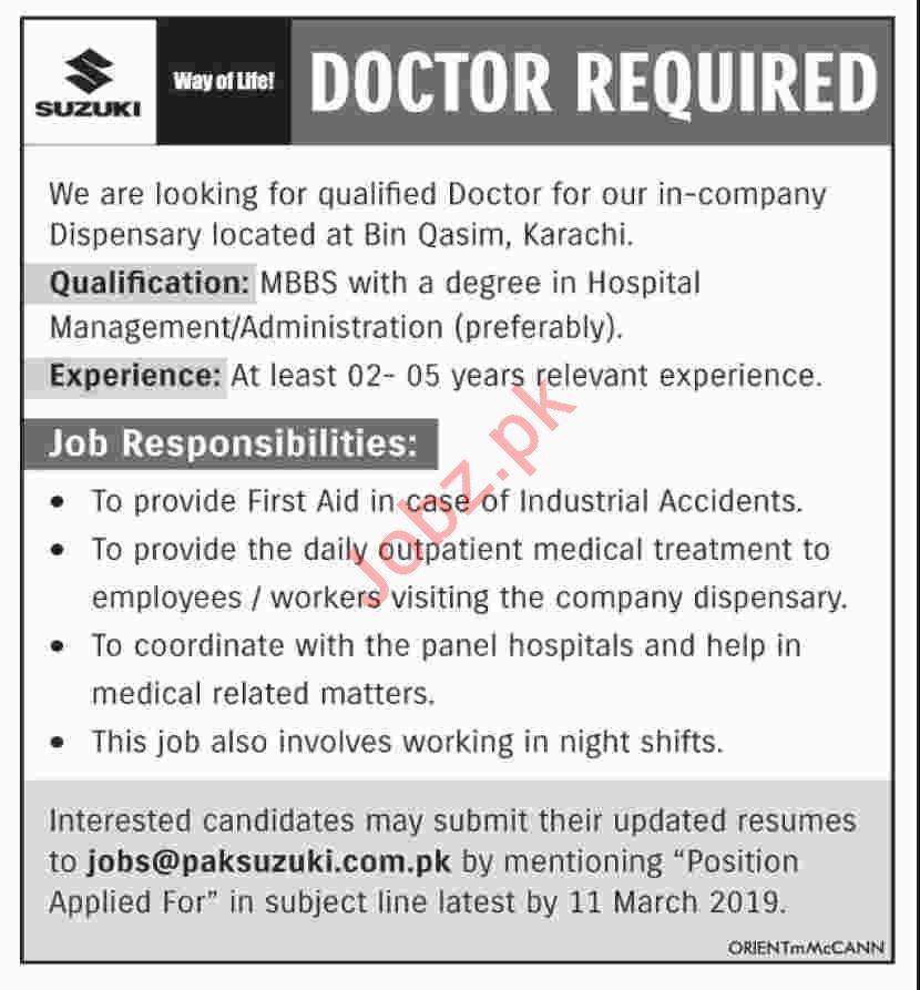 Doctor Jobs in Pak  Suzuki Motor Company