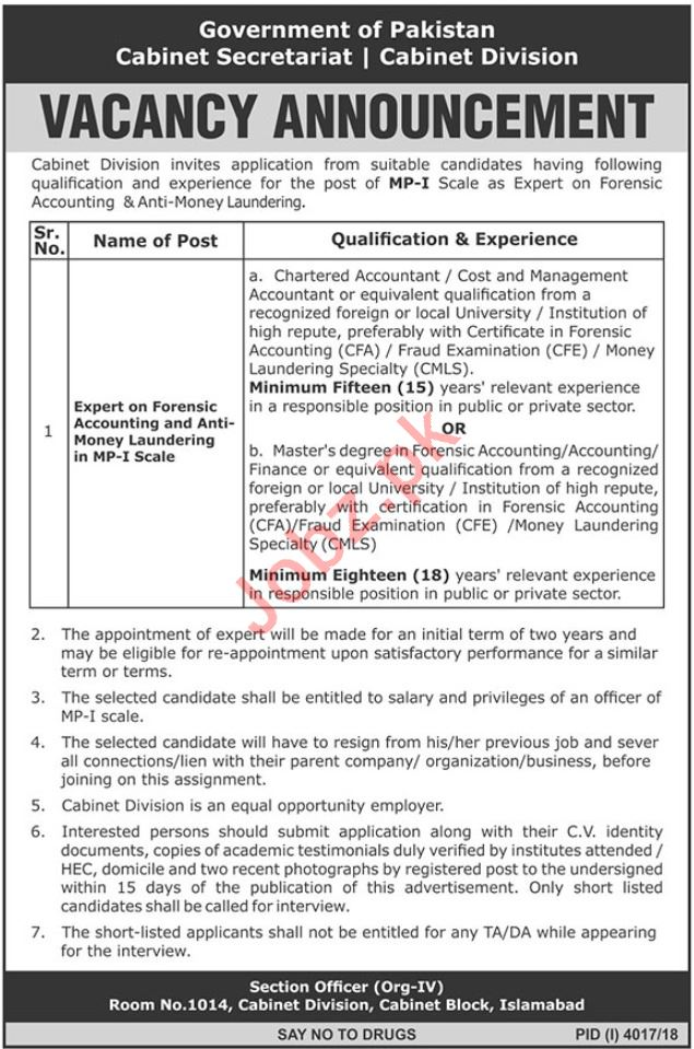 Cabinet Secretariat Jobs 2019 For Experts in Islamabad