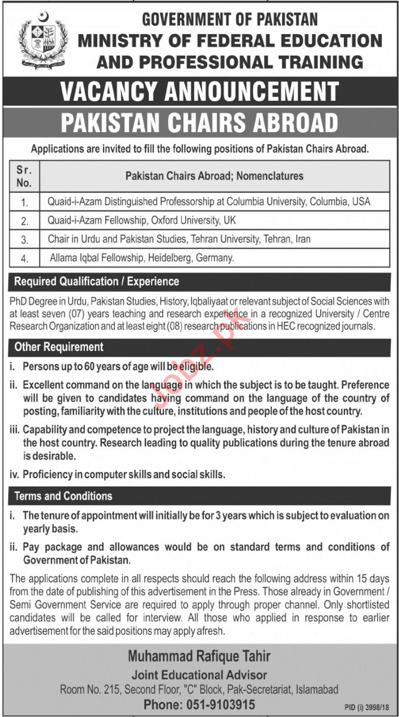 Ministry of Federal Education Pakistan Chairs Abroad Jobs
