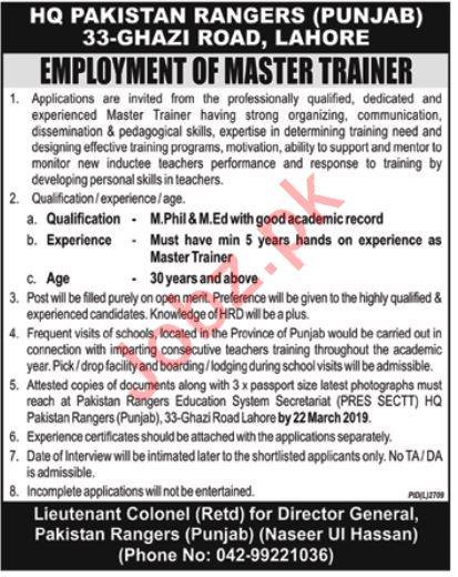 Pakistan Rangers Punjab Job 2019 in Lahore