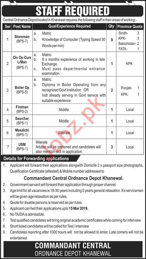 central ordinance depot jobs 2019 in khanewal 2019 job advertisement pakistan