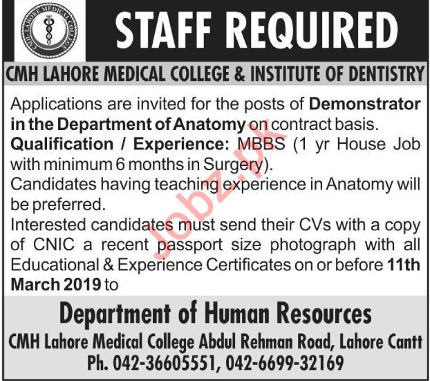 CMH Lahore Medical College Job For Demonstrator in Lahore