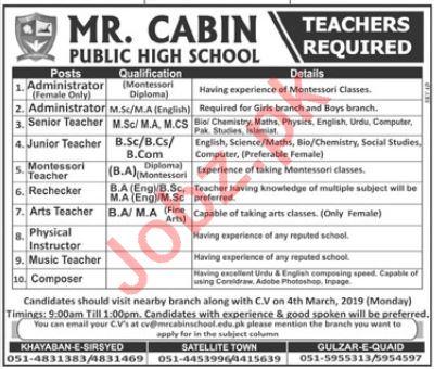 Mr Cabin Public High School Rawalpindi Jobs 2019 for Teacher 2019