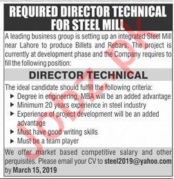 Director Technical Jobs in Steel Mill