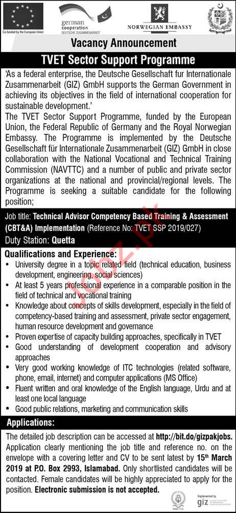 Giz Pakistan Ngo Job For Technical Advisor In Islamabad 2019 Job
