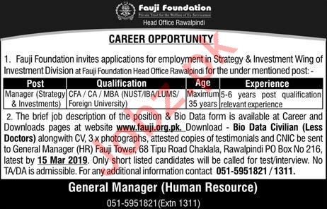 Fauji Foundation Jobs 2019 For Rawalpindi