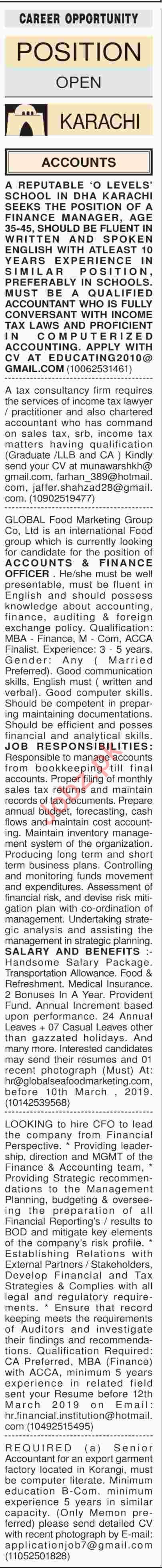 Dawn Sunday Classified Ads 3rd March 2019 Accounts Staff
